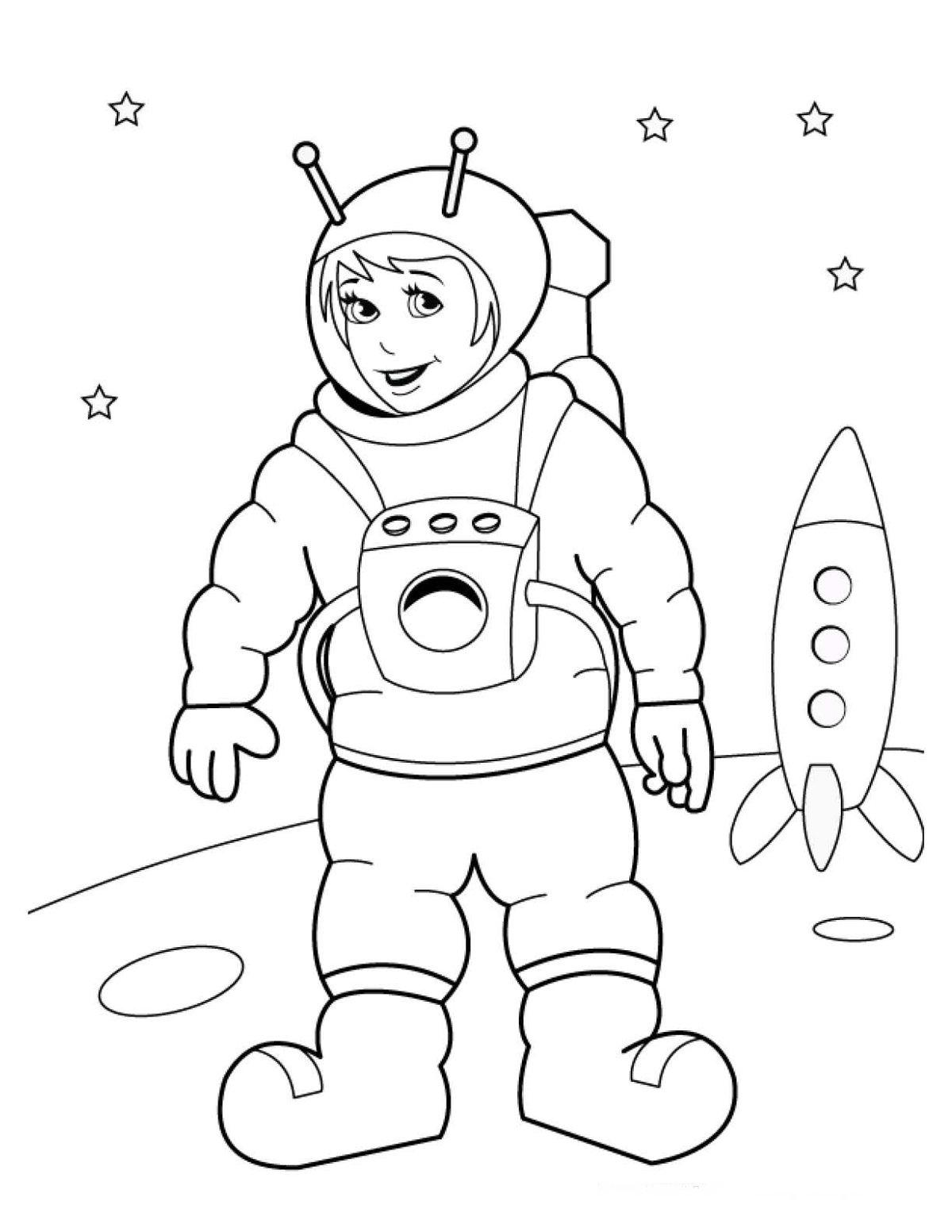 Космонавт раскраска в космосе получается очень