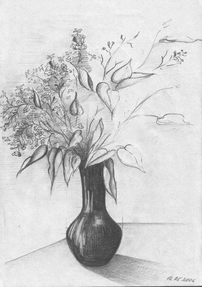 Картинки натюрморт карандашом цветы обьем производства