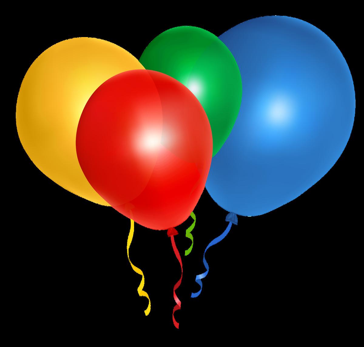 Открытки, картинка с воздушными шарами на прозрачном фоне