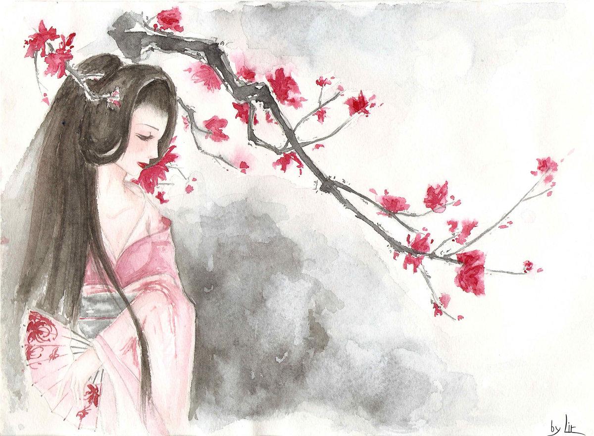 девчонки, рисунки япония карандашом легкие и красивые шпон