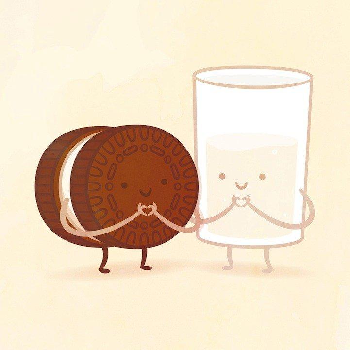 Открытка молоко с печеньем, аву