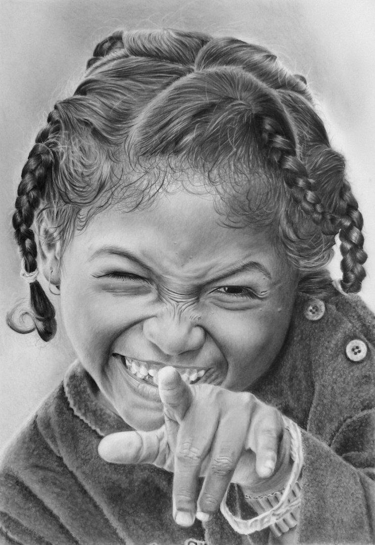 Рисунки карандашом смешная девочка