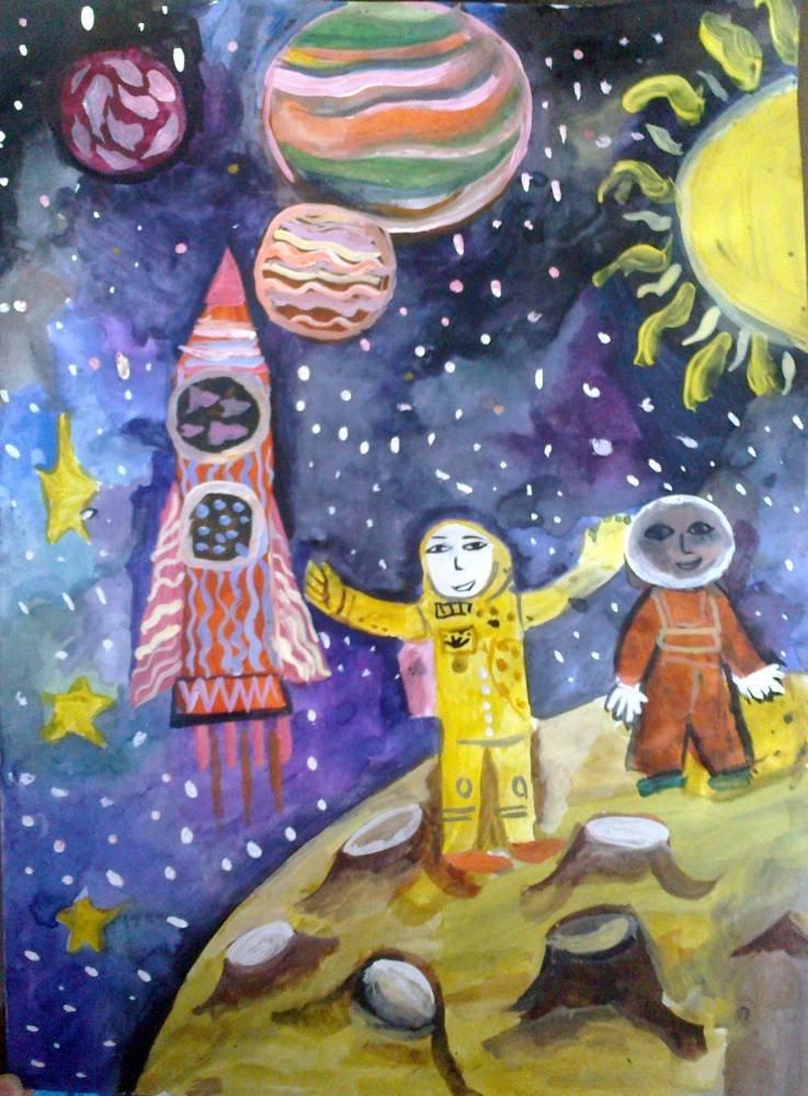 Картинки космоса для детей рисовать