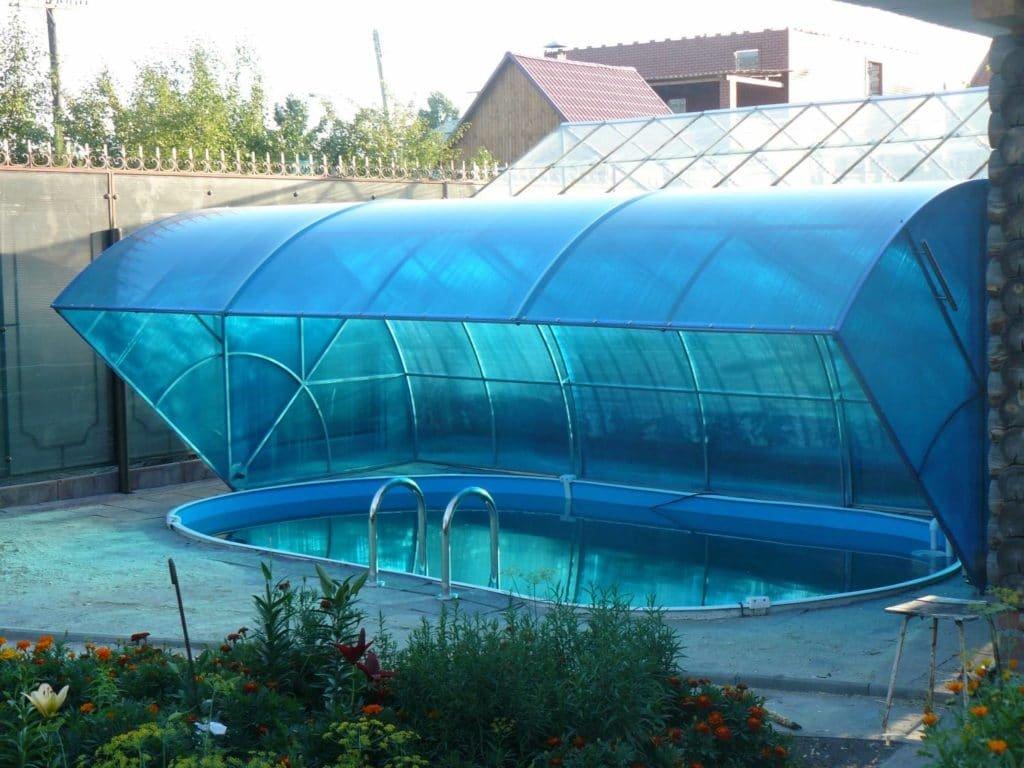 навес для бассейна на даче своими руками