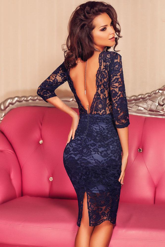 6adc05704b0 Синее кружевное платье бюстье с рукавами 3 4 и открытой спиной ...