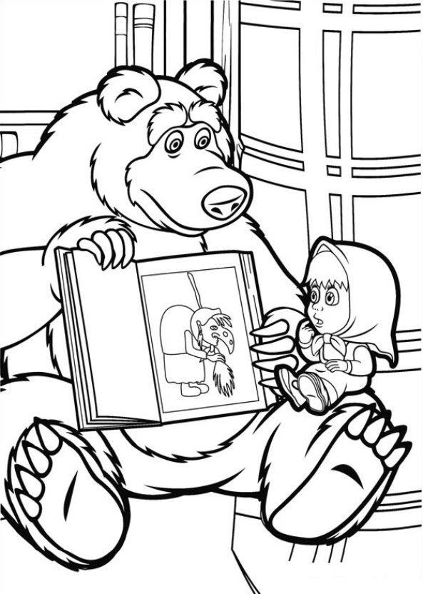Месяцем, картинки из мультика маша и медведь раскраски