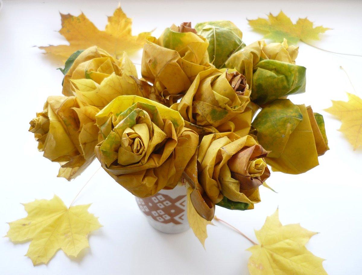Красивый букет из листьев деревьев, база цветов