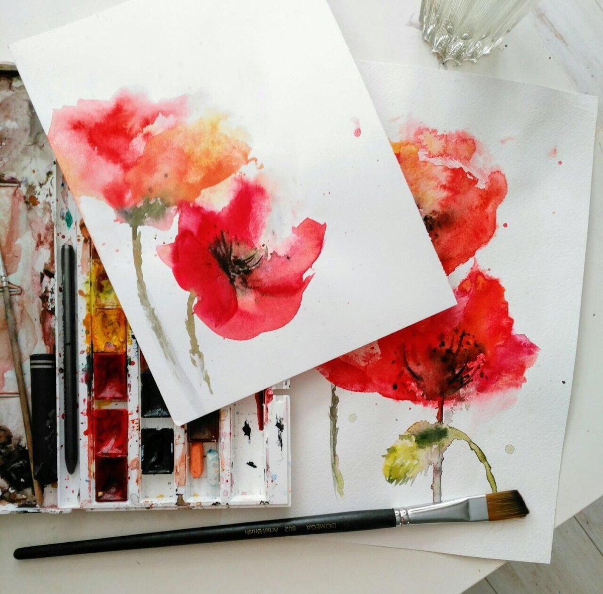 Днем, рисунки для открыток акварелью