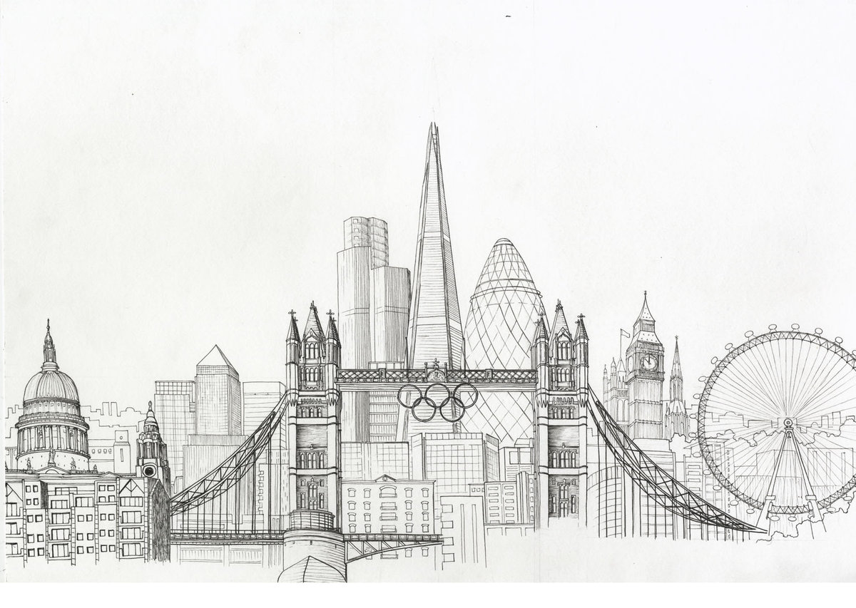 city landscape drawing simple beatiful landscape card from user