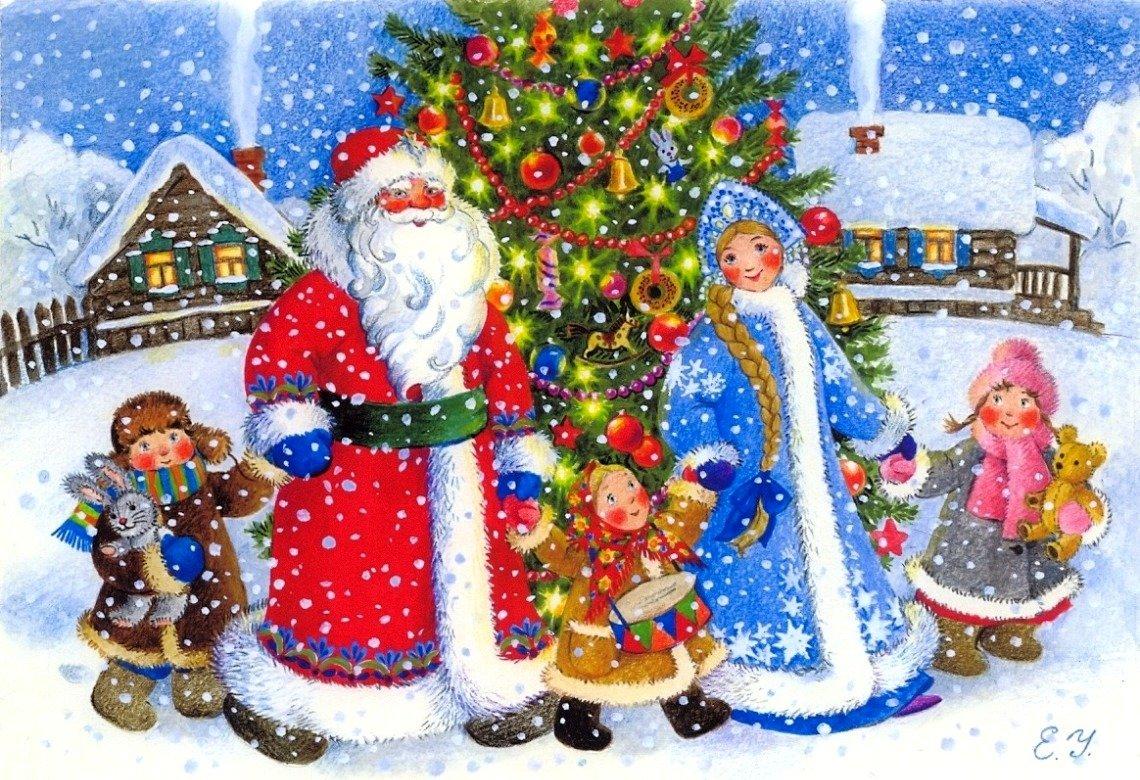 Картинки новый год дед мороз новогодняя елка для детей