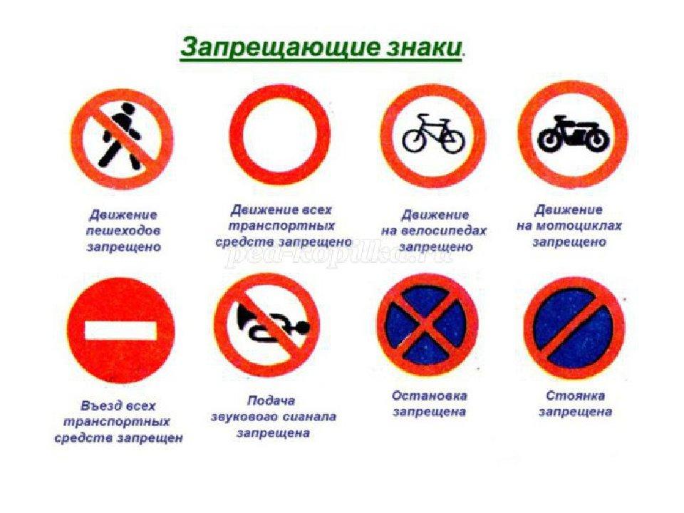 Запрещающие знаки пдд для детей в картинках распечатать