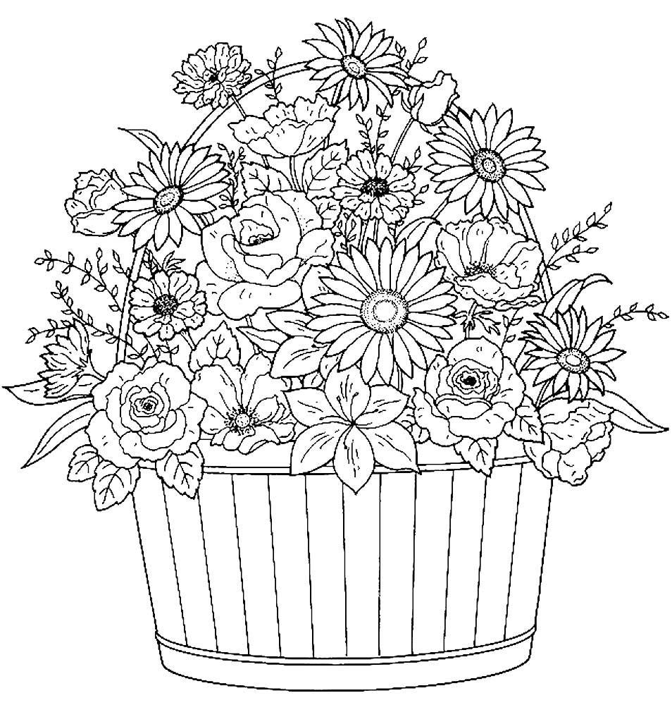 Открытки раскраски с днем рождения распечатать цветок