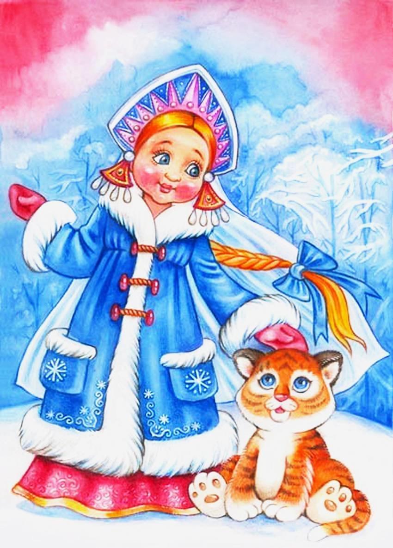 Девочка снегурочка картинка нарисовать