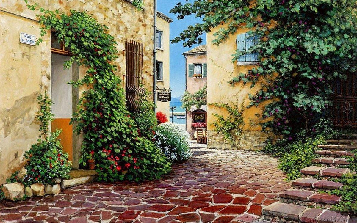 видны картинки улицы и дворики неоднородной