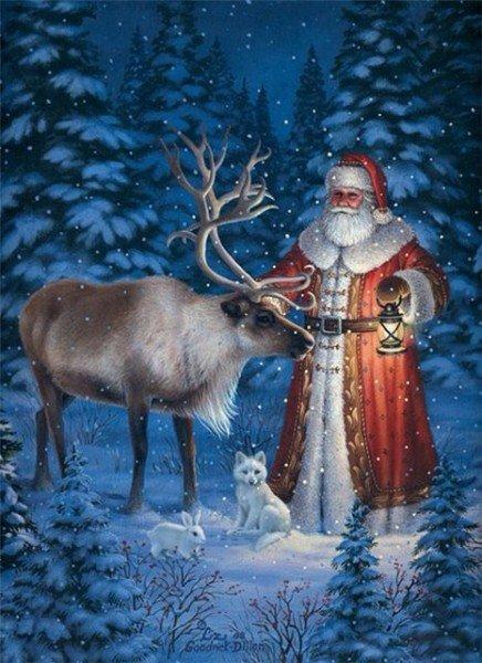 Дед Мороз и северный олень.