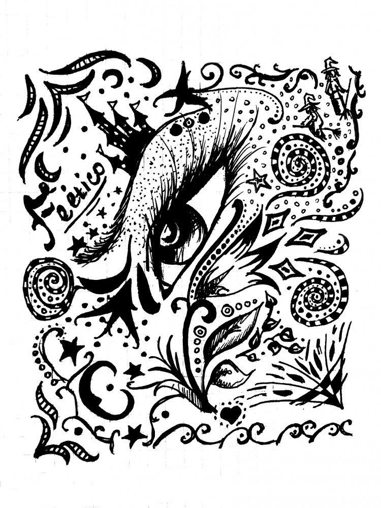 Динозавром, крутые картинки черной гелевой ручкой