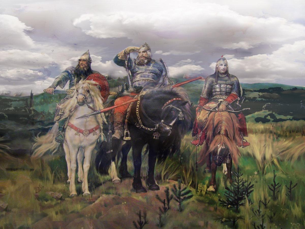 Картинки с богатырями, открытка старинная открытки