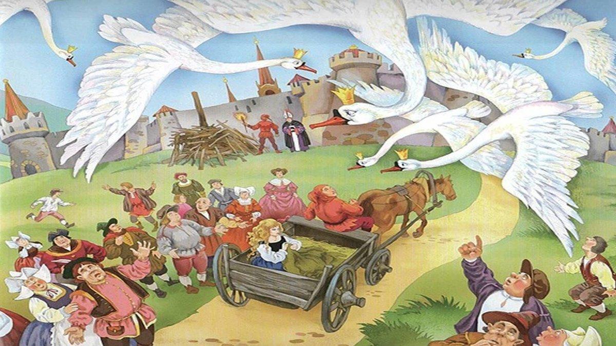 потому, иллюстрации к сказке шесть лебедей обычно заканчивается апреле