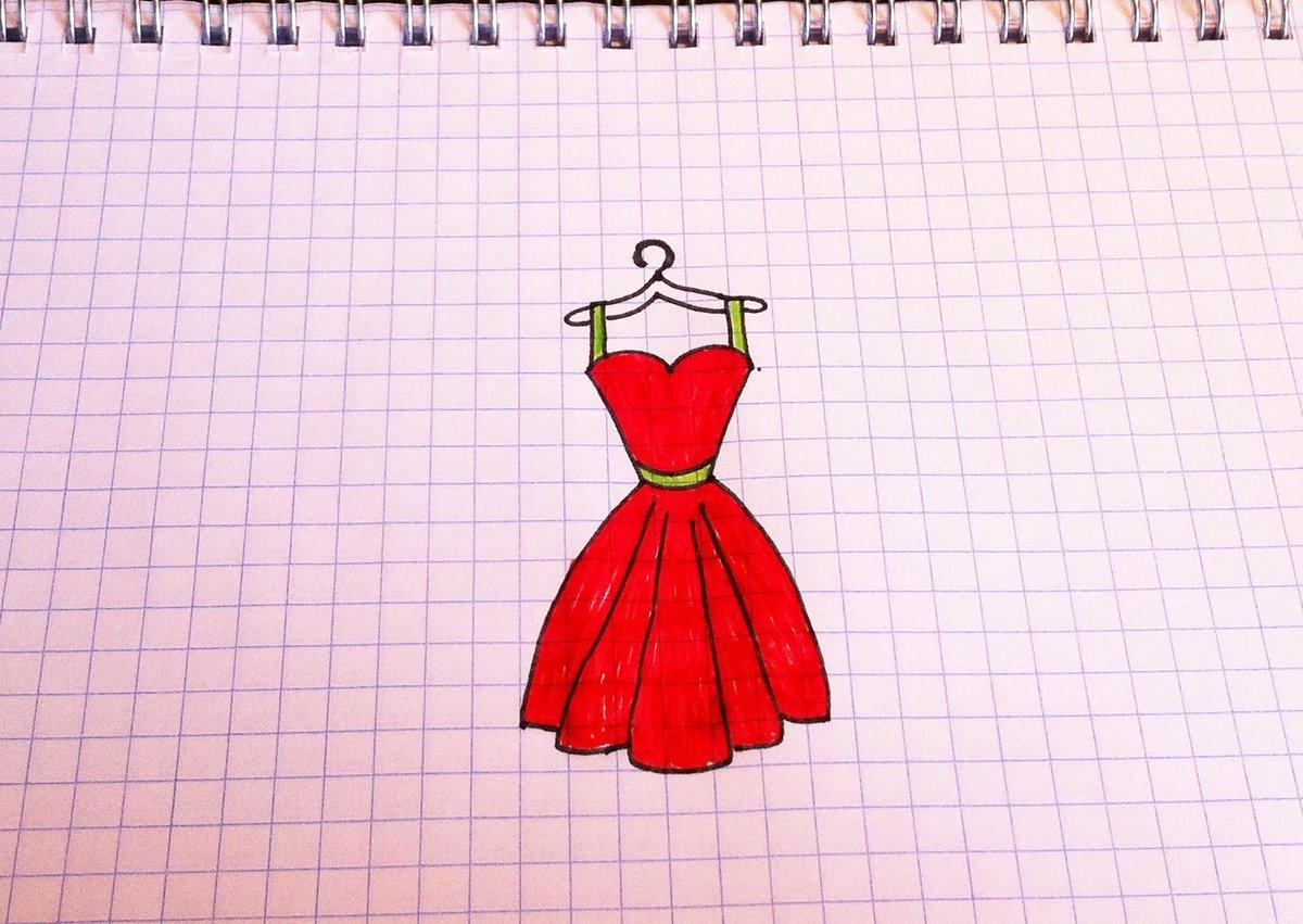 Рисунки карандашом платья легкие