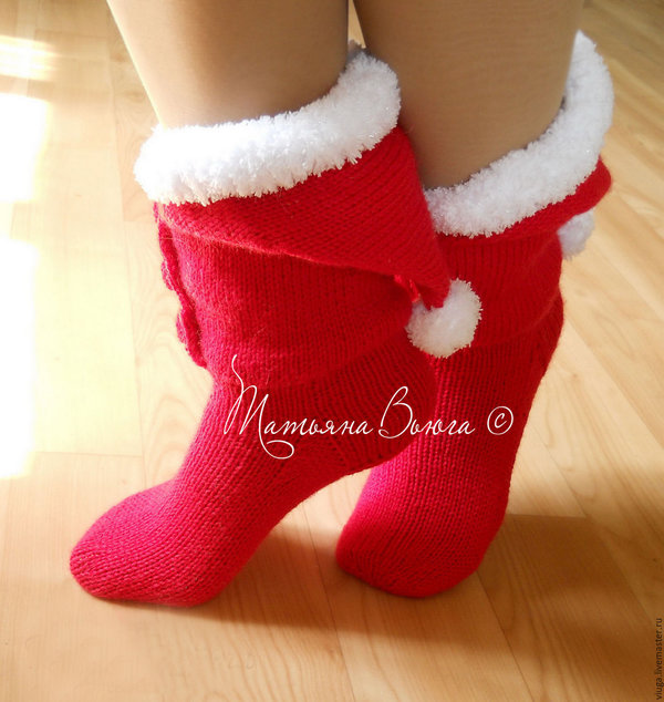 7c11e639905c2 Санты. Носки вязаные купить, носки шерстяные, подарок ручной работы .