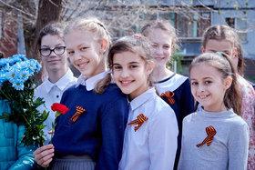 Наши гимназисты на шествии к 9 Мая 2018. Тольятти