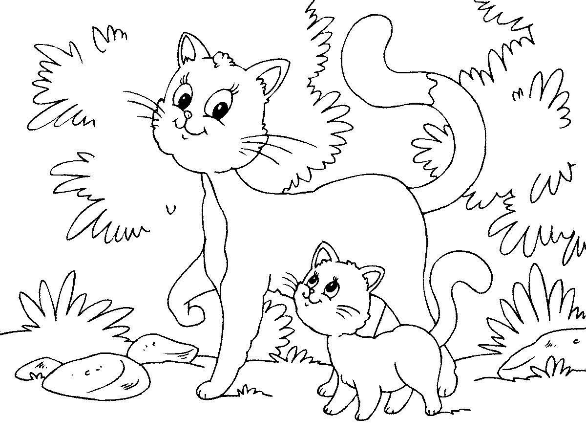 Картинки кошка и котенок для раскраски, днем ангела