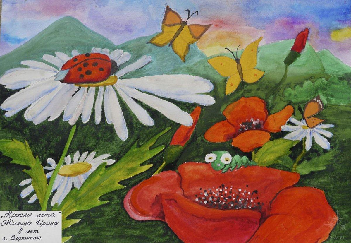 Рисунок на тему лето в детский сад, сфинкса поздравительные