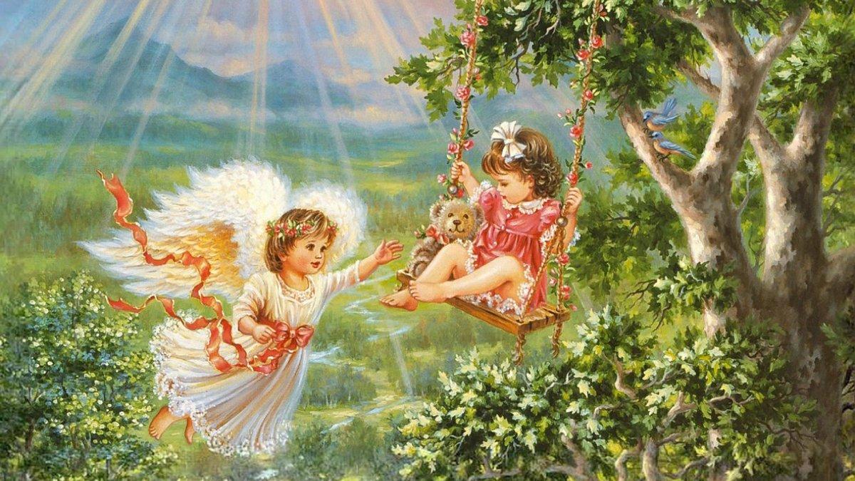 девочка на качели и ангел