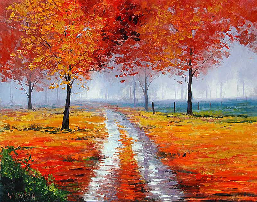 Картинки осень нарисовать красками