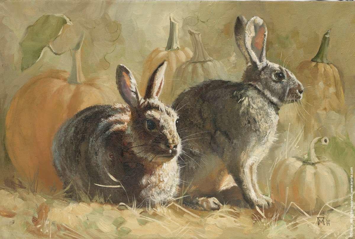 картина с зайцами сплошь