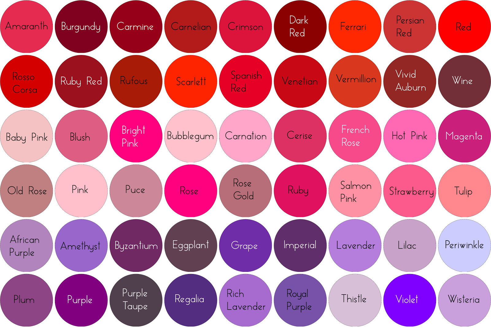 Diffe Shades Of Red Hair Color Names And Brun Card