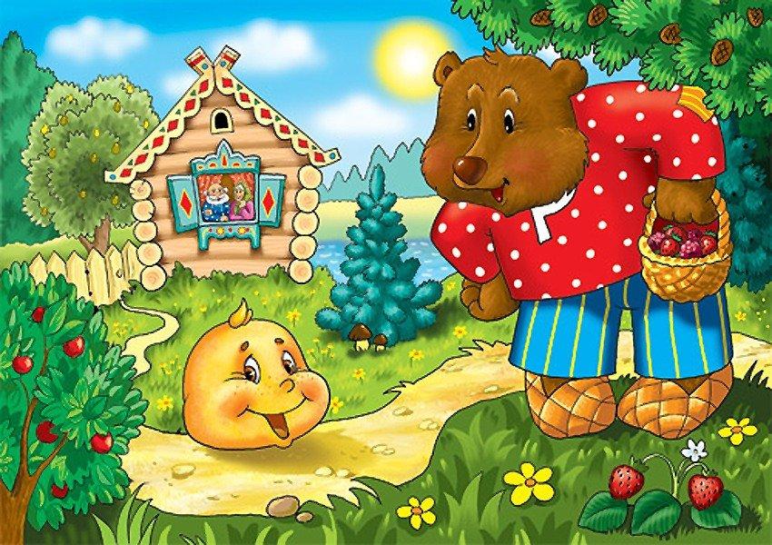 Картинки к сказке колобок для детей цветные по отдельности, написать