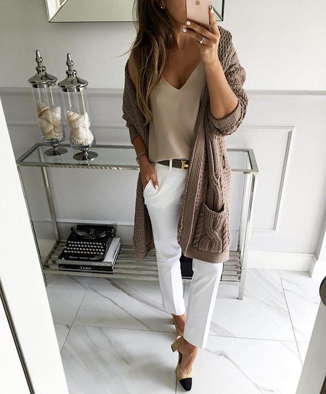 чудесный осенний образ для девушки с брюками