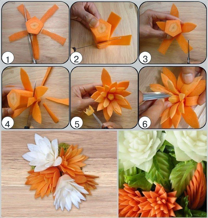 Букеты розами, карвинг цветы из моркови