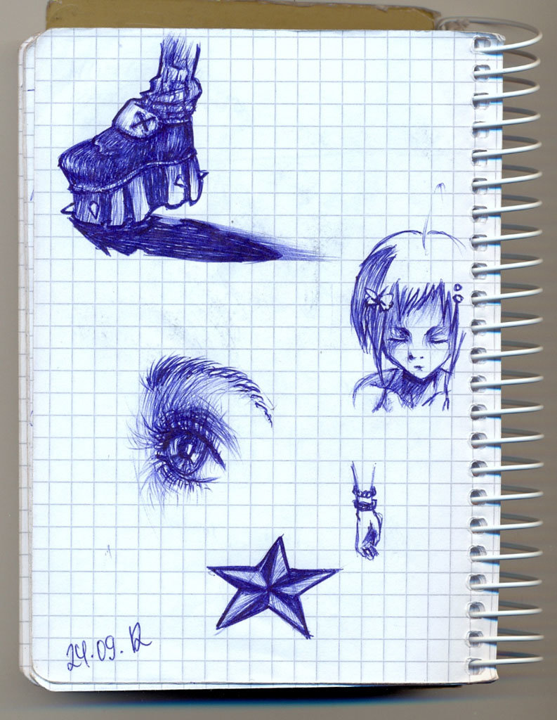 Рисунки в тетради в клетку ручкой