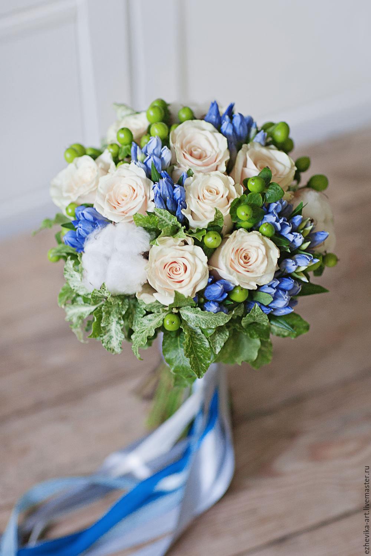 Свадебный букет невесты в голубых тонах