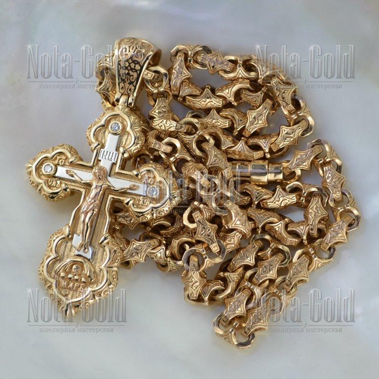 Эксклюзивная цепь плетения Краб Большой и крест из красного золота с  бриллиантами (Вес  105 a3469ad71d4