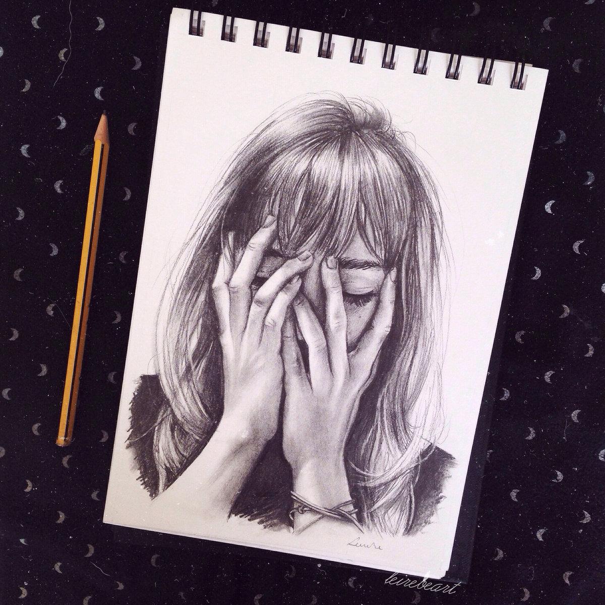 Картинка девушки которая плачет карандашом