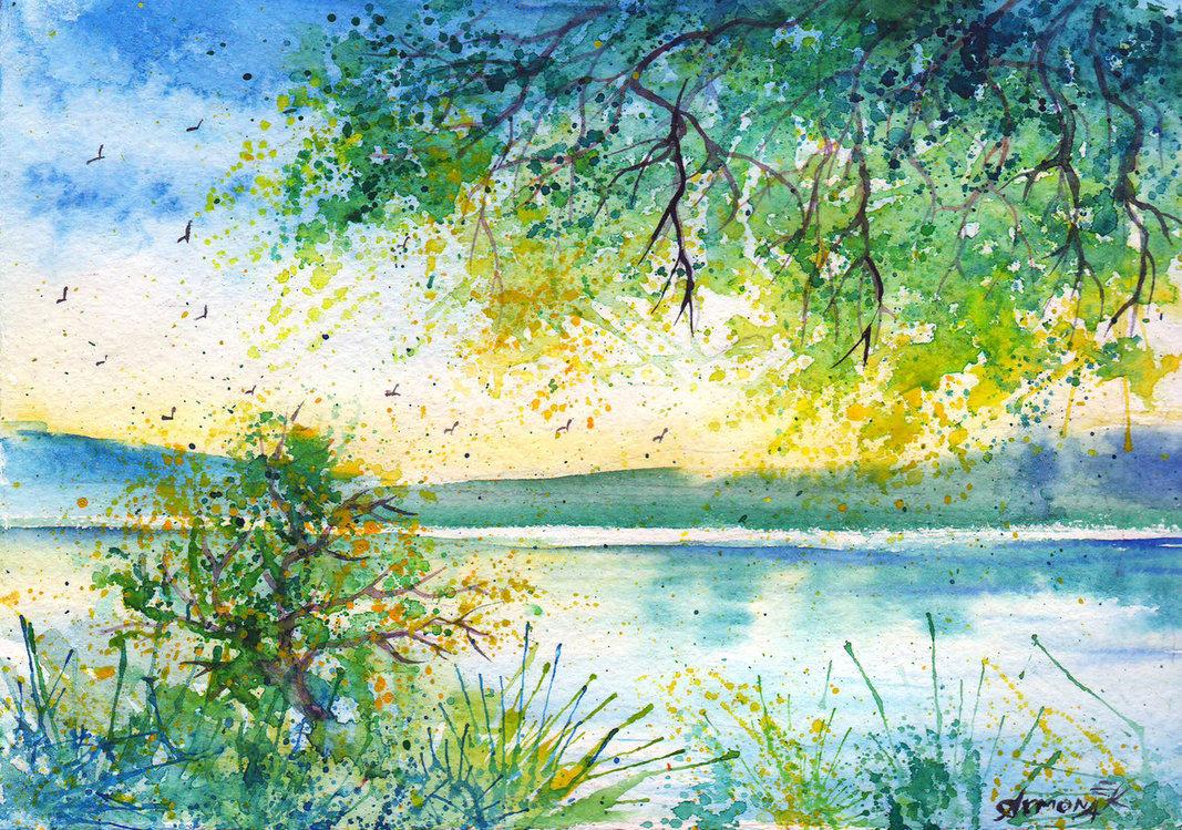 Картинки акварелью лето