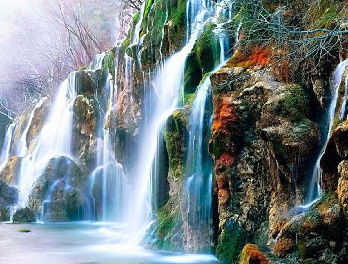 Открытки поздравлениями, картинки с водопадом анимации