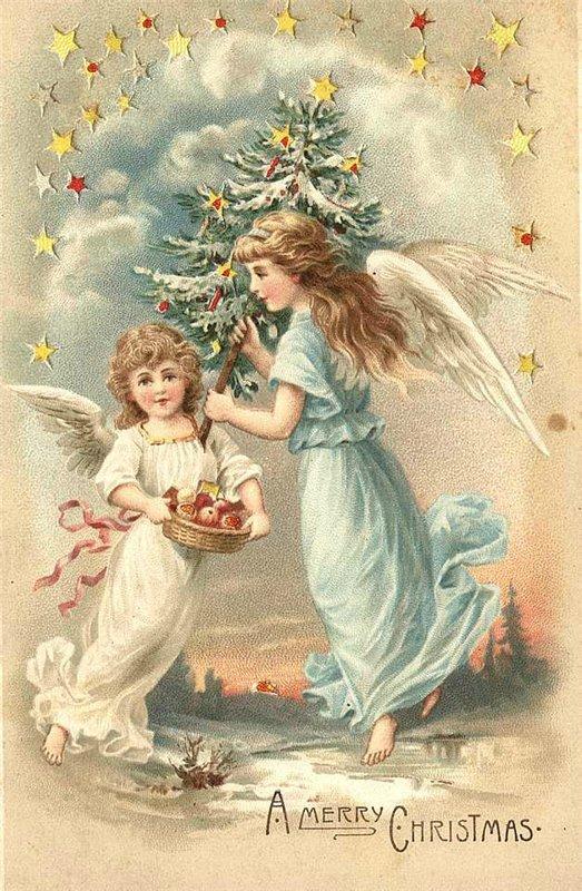 Винтажные открытки с ангелом