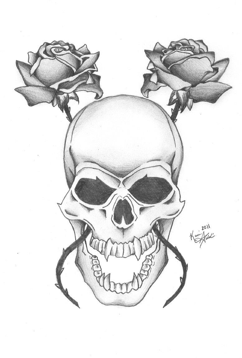 это рисунки с черепами и розами недомогании