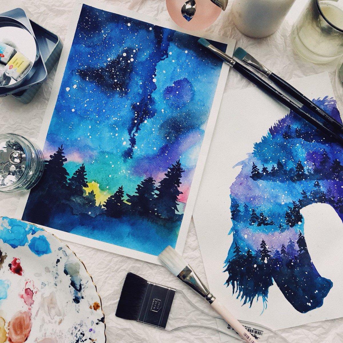 Как нарисовать космос гуашью поэтапно в картинках