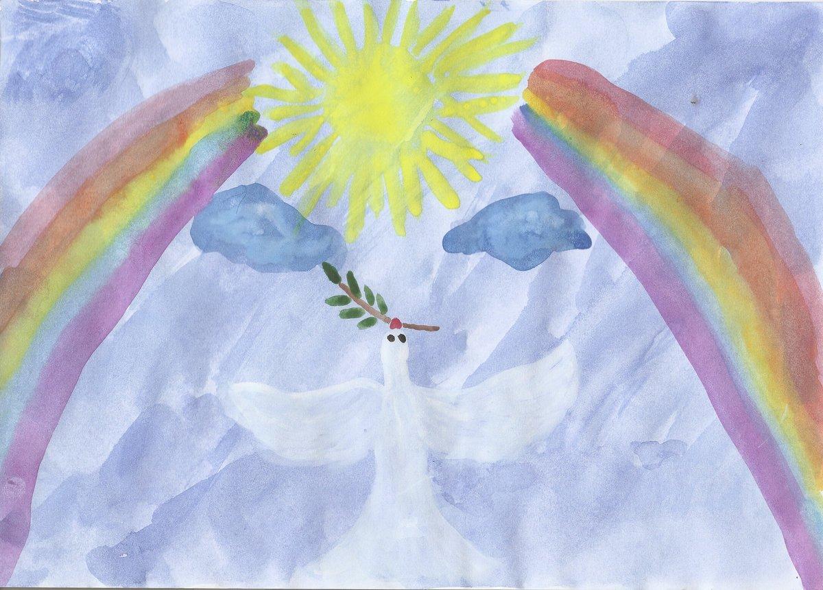 Солнце и радуга рисунок