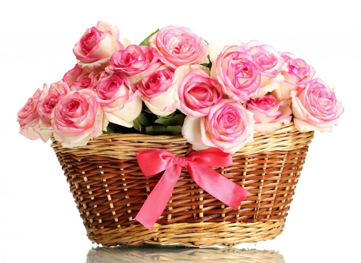 Именем, открытки букеты роз в корзине