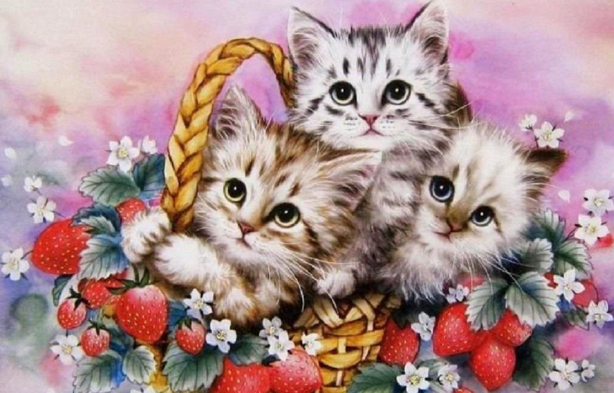 Открытка с изображением котенка, прикол