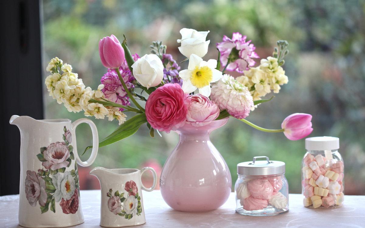 открытка с добрым утром с цветами много