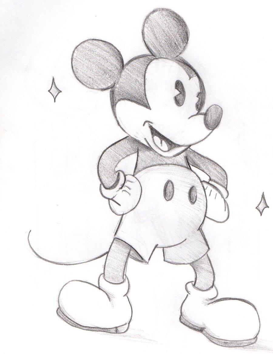 Микки маус картинки для срисовки карандашом для начинающих