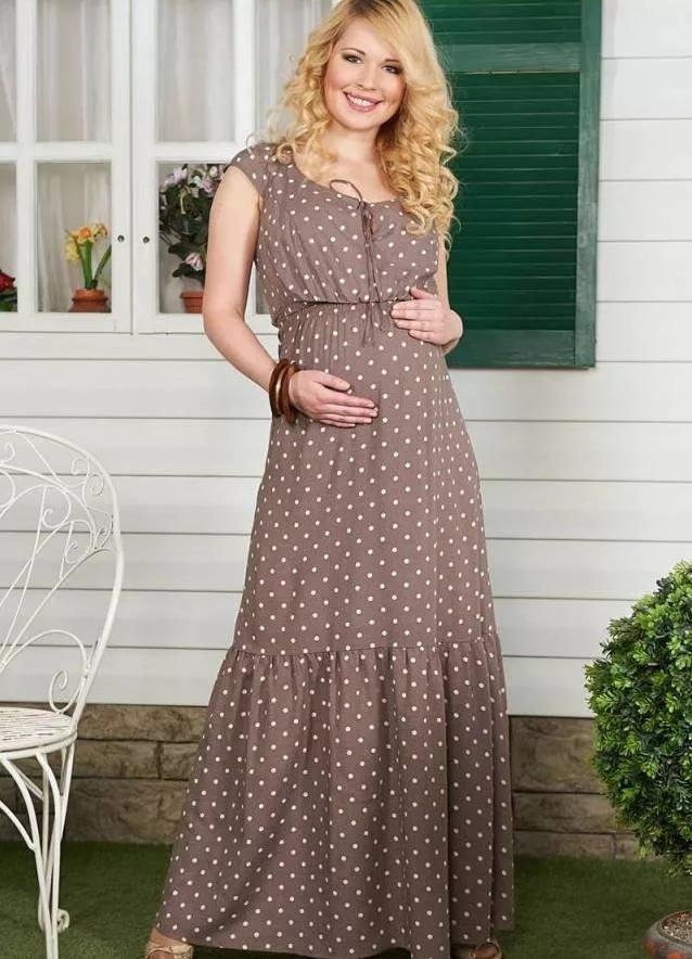 065b5b0f96fbb54 Длинное летнее платье для беременных коричнево в горошок