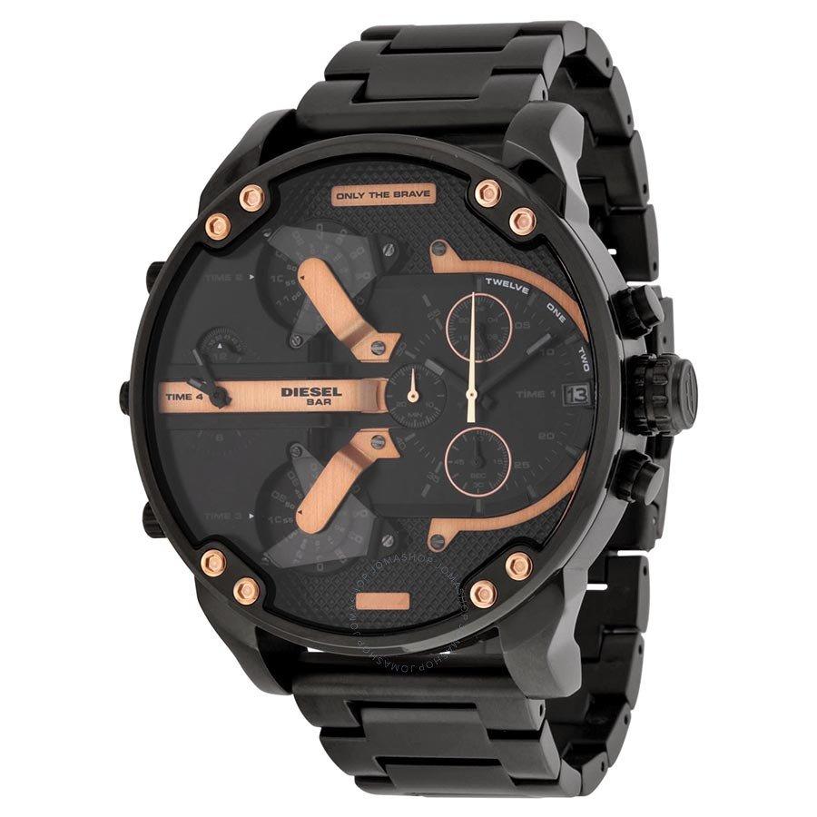 Daddy chronograph 4 time zones black leather watch -diesel men's dz mr.